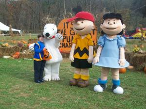 My Son at the Halloween Pumpkin Patch with Snoopy, Charlie Brown, and Lucy in Whittier, North Carolina, Great Smoky Mountains Railroad, October 2012