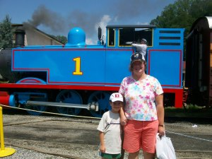 About to Enjoy a ride on the Thomas the Tank Engine Train, Great Smoky Mountains Railroad, Bryson City, North Carolina, July 2010