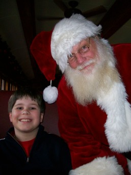 My Son Happily Meeting Santa Claus on The Polar Express, Great Smoky Mountains Railroad, Bryson City, North Carolina, December 2012