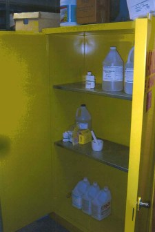 Chemicals in Shiloh Science Storage Room Teacher Workspace, March 2008