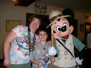 Me with my Son and Mickey Mouse at Tusker House Restaurant, Disney World's Animal Kingdom, Florida, April 2013