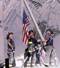 Firefighters Raising Flag in Aftermath of 9/11 (4)