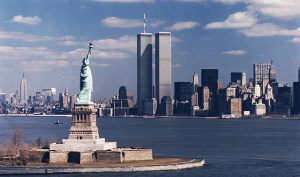 Twin Towers, Statue of Liberty, and Manhattan (1)