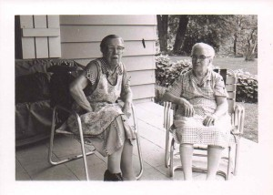 Bertha (Gould) Babcock (Left, Wife of Jonathan Babcock) with Neighbor, Collins, NY, 1960