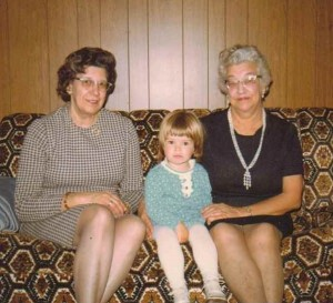 Bessie Kibbe, Thelma Ulander, and Michele Babcock, Collins, New York, October 1973