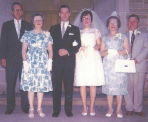 Bruce and Anna Babcock, and Parents at Wedding, July 1963, Gowanda, New York