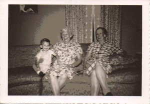 Bryan Kibbe, Hazel (Gould) Crawford Houston, and Bertha (Gould) Babcock, Collins, NY, 1960