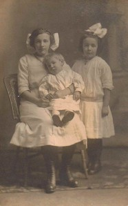 Eunice (Married Names-McEwen, Hembury), Charles A., & Louise Babcock (Married Name-Heppel), Collins, NY, 1913