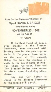 Funeral Card of David I. Briggs, North Collins, New York, 1968 (Killed in Vietnam War) (Wentland Funeral Home, North Collins, New York)