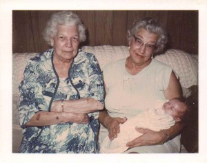 Hazel Houston and Thelma Ulander with Baby Michele Babcock, Collins, New York, August 1971