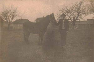 Jonathan Babcock and Horse, Collins, NY, Circa 1900-1910