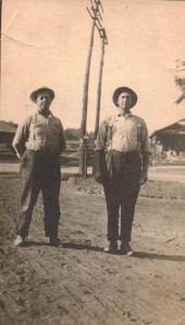 Jonathan Babcock and Frank Briggs at Railroad Depot, Collins, NY, Circa 1900-1910