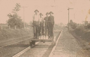 Jonathan Babcock (Left), Lawrence, Mike P., and Andrew P. Working on Railroad, Collins, NY, Circa 1890-1900
