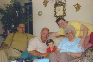 Four Generations of Cousins-Babcock's, Nice's, Kibbe's, Falconer, New York, 2005 (Jim, Bruce, Baby, Michele, Bessie)
