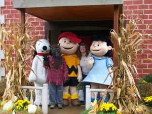 My son (as a werewolf) and I with Snoopy, Charlie Brown, and Lucy at Great Smoky Mountains Railroad Pumpkin Patch, Whittier, North Carolina, October 2015