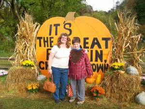 My son and I at Great Smoky Mountains Railroad Pumpkin Patch, Whittier, North Carolina, October 2015