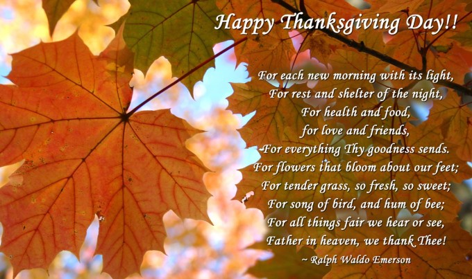 Happy Thanksgiving (with verse by Ralph Waldo Emerson; retrieved from ourdailyblessings.com, November 26, 2015)